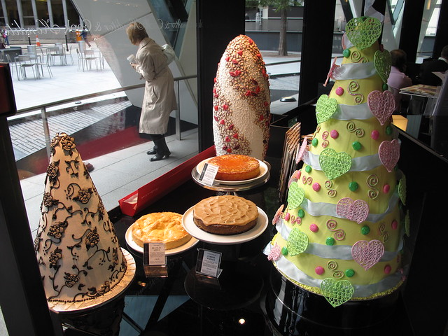 Cool French cakes in SwissRe building shape