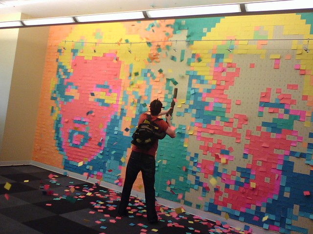 Removing a post-it mural the fast way