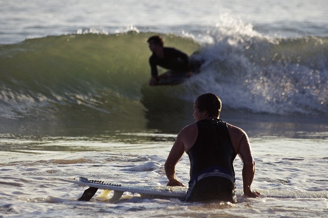 Evening surf session at Compton Bay, Isle of Wight