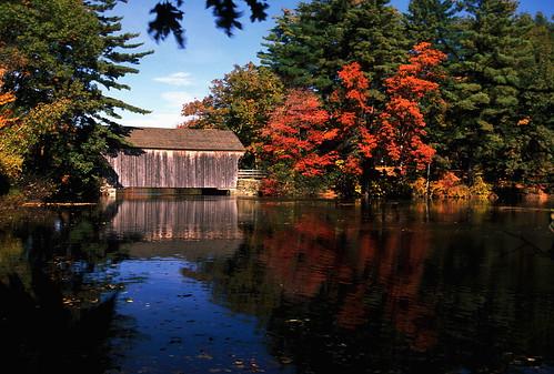 "autumn fall water reflecting nikon massachusetts best velvia coveredbridge 1997 nikkor sturbridge polarizer fujichrome f4 oldsturbridgevillage catchycolorsorange 80200mmf28d ""worlds shot"" worldtrekker supercoolscan4000ed"