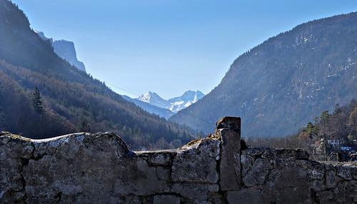 germany bavaria berchtesgadenerland badreichenhall gruttenstein stonewall mountains sky cablewaycables reiteralm loferersteinberge