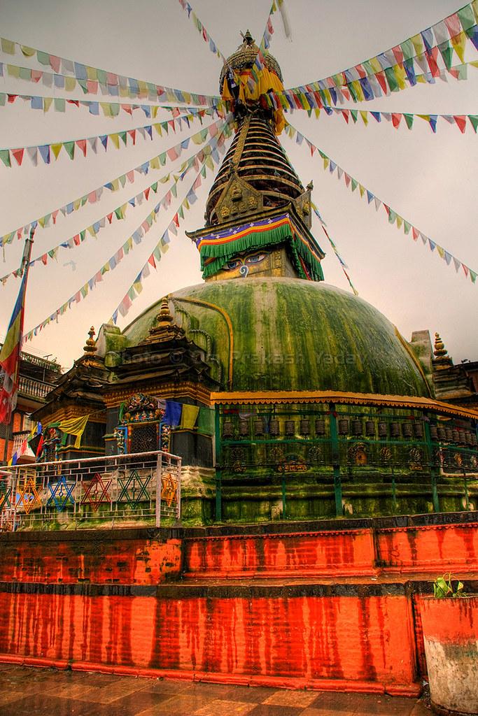 Algae covered stupa