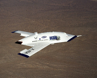 X-45 UCAV - OVER EDWARDS AIR FORCE BASE, Calif. -- An X ...