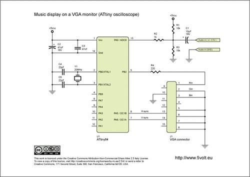 ATtiny Oscilloscope on VGA monitor | This is the schematic