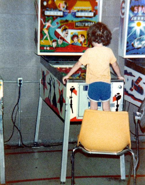 1979ish - Clint - playing pinball - (by Dad)