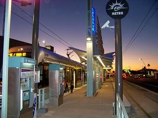 McClintock and Apache Light Rail Station at Night