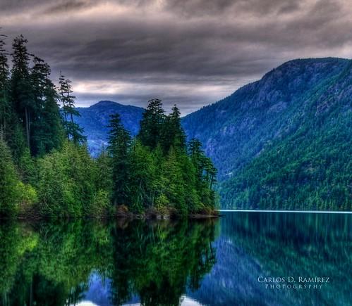 lake canada reflection tree landscape nikon britishcolumbia sigma vancouverisland hdr cameronlake d90 photomatix
