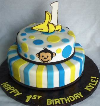 Magnificent Mod Monkey 1 Banana Tiered First Birthday Cake Jeanne Flickr Personalised Birthday Cards Veneteletsinfo