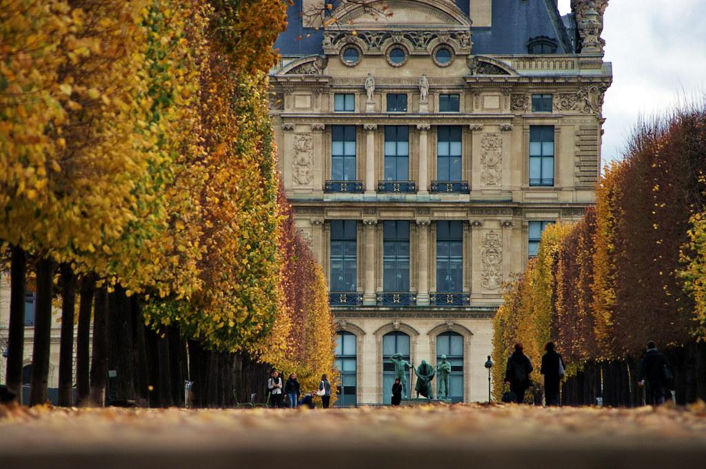 Paris Jardin Des Tuileries La Terrasse Le Long De La Sein