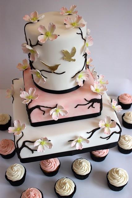 Dogwood Blossom Wedding Cake with Cupcakes