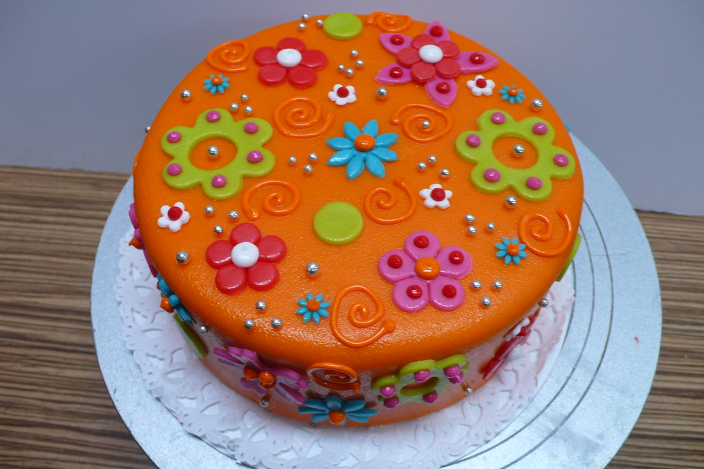 Colorful birthday cake Flowers and swirls | Zoe Elizabeth Gottehrer ...