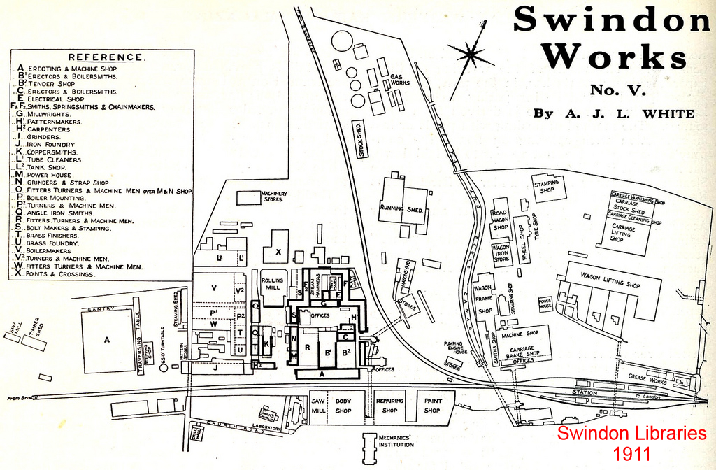 1911: A 1911 map of Swindon works from a series of article ... on