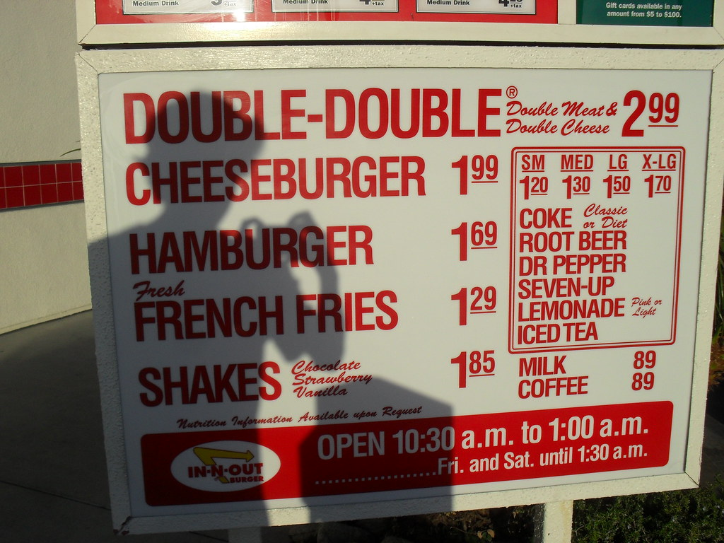 In-n-out Menu LAX | Fresh food at great prices  Best chips a