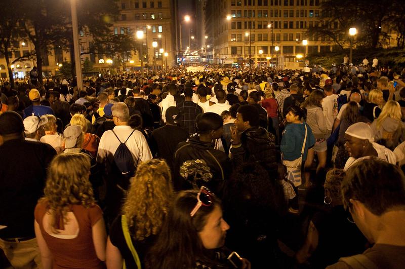 Massive crowds after the fireworks