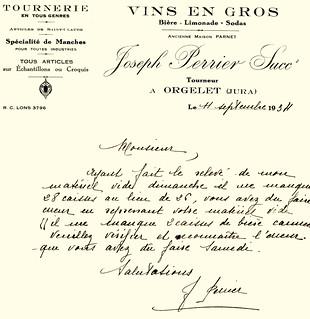 "Courrier de Joseph Perrier ""Vins en gros"""