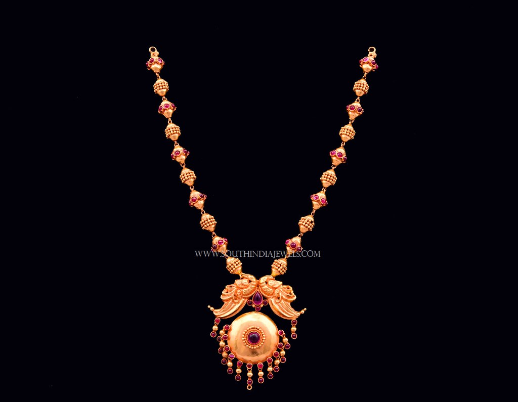 Gold Antique Beaded Necklace From Bhima Southindiajewels C Flickr