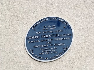 Joseph Priestley blue plaque - Site of New Meeting House where Joseph Priestley was minister - Saint Michaels Catholic Church