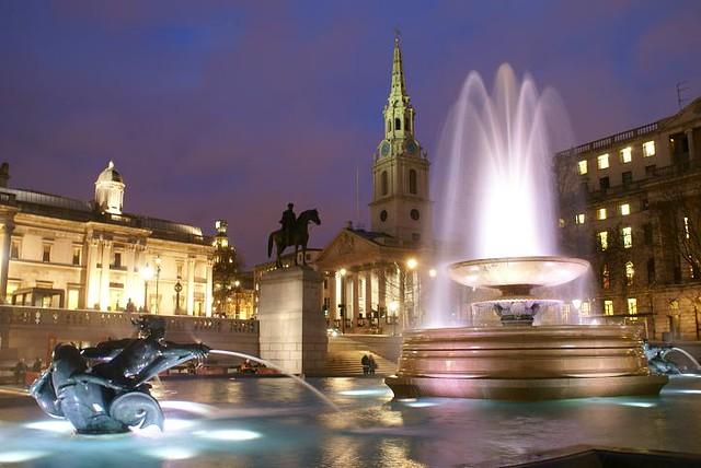 Trafalgar Square at Night, Nov 2009