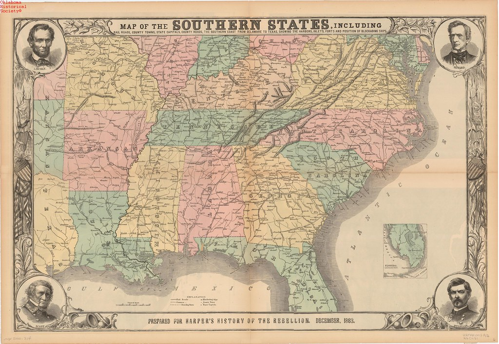 Civil War - Map of the Southern States | Created: 1883 OHS M ...