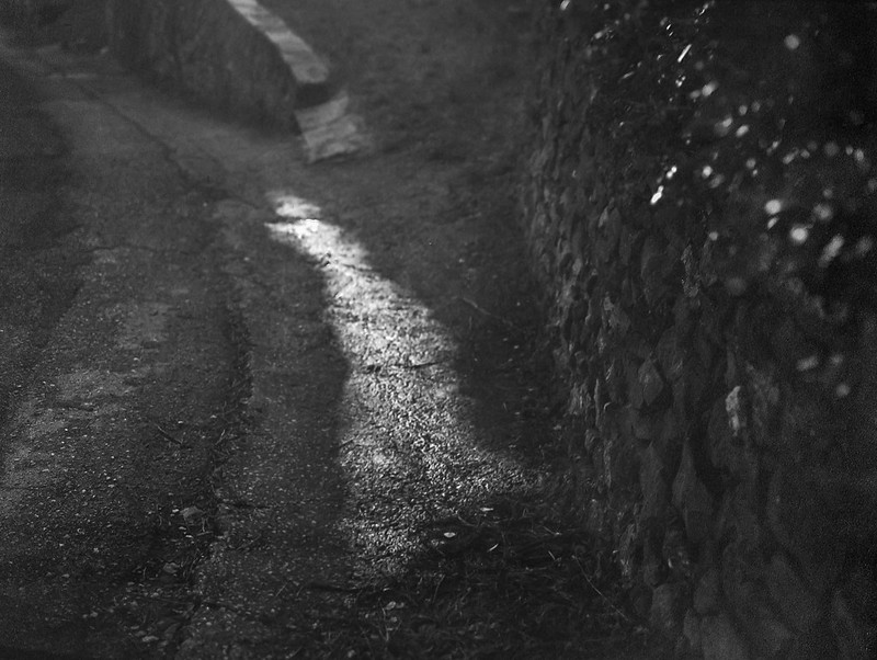 wet pavement, roadway, stone walls, driveway, Cortona, Tuscany, Italy, Mamiya 645 Pro, Mamiya Sekkor 80mm, Fomapan 200, R5 Monobath Developer (underexposed and pushed), early January 2017