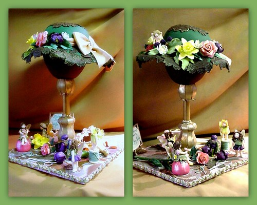 Hat Cake on Stand with Fairies