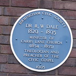 Wesley Owen Books and Music in Carrs Lane Church Centre - blue plaque of Dr R W Dale
