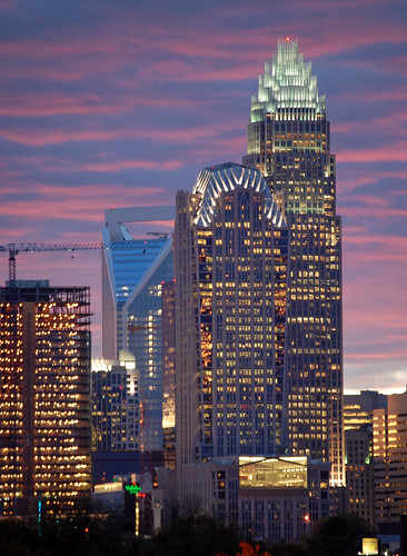 city sunset urban building tower skyline skyscraper nc downtown skyscrapers charlotte central center uptown cbd qc clt