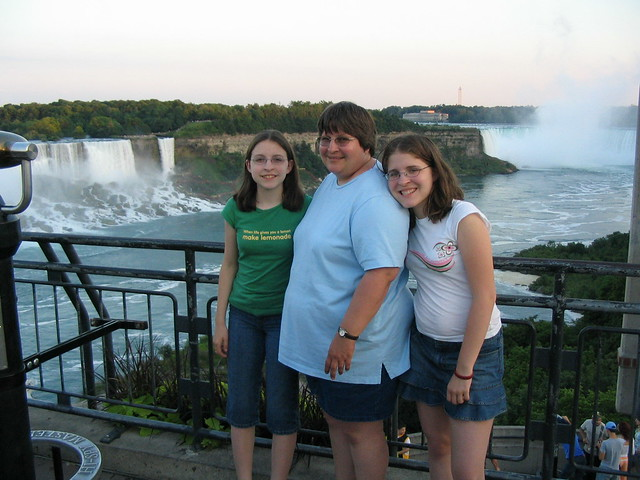 The girls in front of the falls.