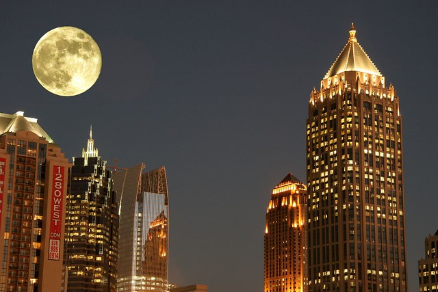 Harvest Moonrise Over Atlanta, GA