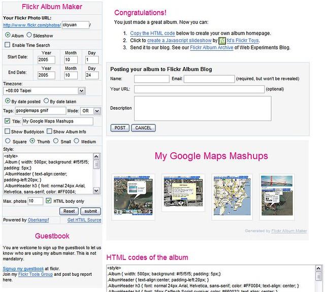 Flickr Album Maker   webdev yuan cc/famaker php See the disc…   Flickr