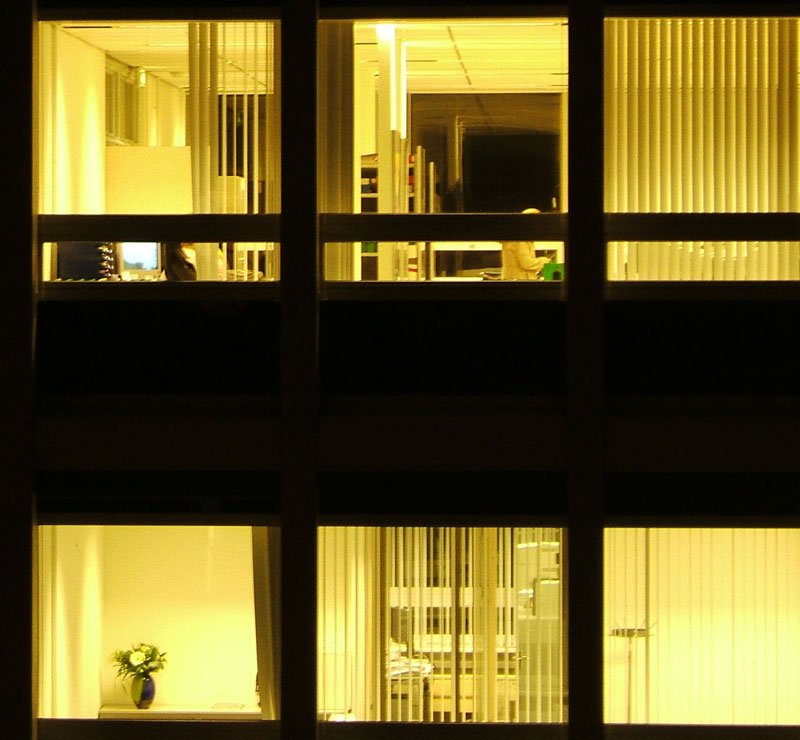office windows at night