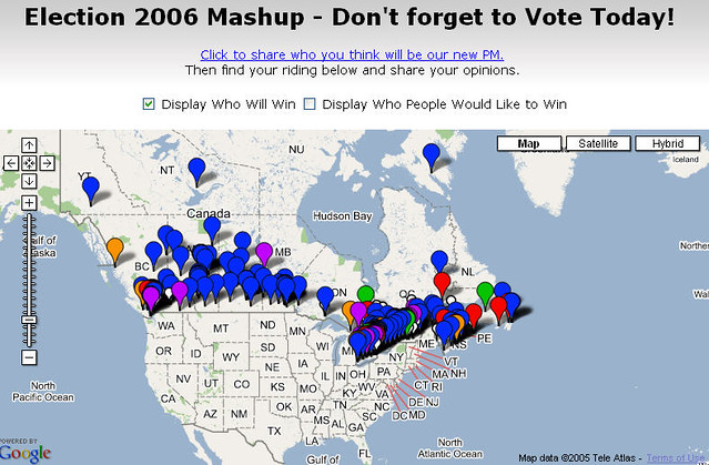 Canadian Election 2006 Mashup Map | It's election day here i