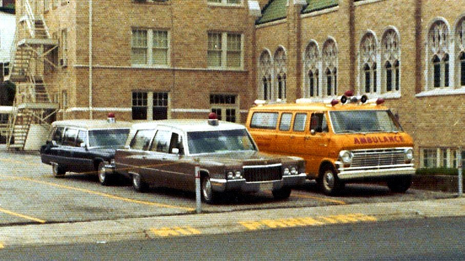 Gross Mortuary, 1017 Central Avenue, Hot Springs, Arkansas, Last Ambulance Fleet, 1973 (Photo by Dr. Jim Moshinskie)