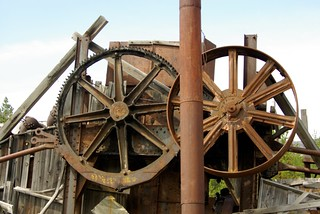 Wheels  and stack on an old steam powered Yuba Dredge.