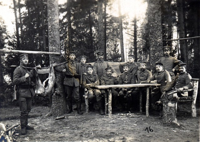 Sachsen hunting party with their quarry