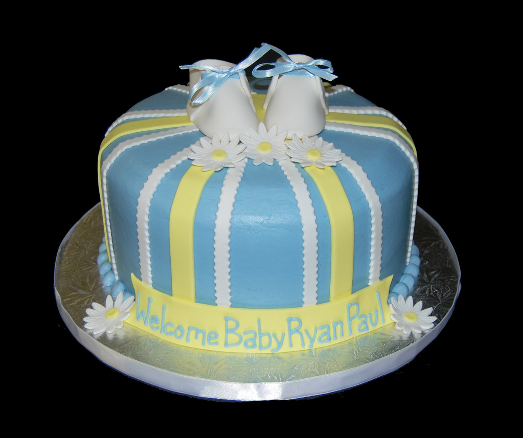 Blue And Yellow Striped Baby Shower Cake With White Baby S Flickr
