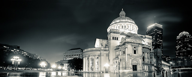 The First Church of Christ, Scientist, at Night, Boston