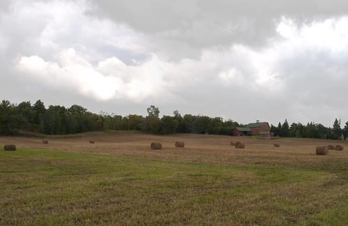 field clouds barn hay