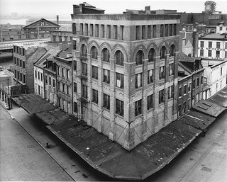 Abandoned 19th century buildings at Washington St and Chambers St toward Hudson and West Side Highway. Not far from the future World Trade Center. 1967. New York | by wavz13