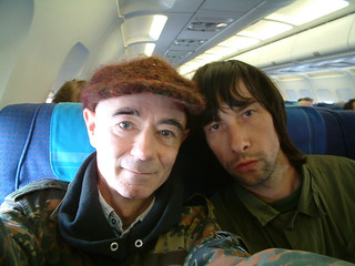 BP Fallon & Bobby Gillespie flying Belfast to London 2002 | by bp fallon