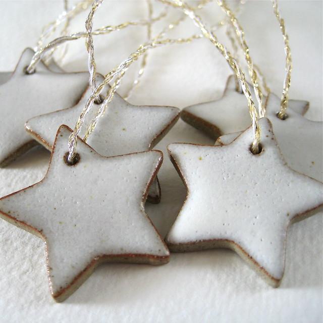 White Ceramic Star Decorations
