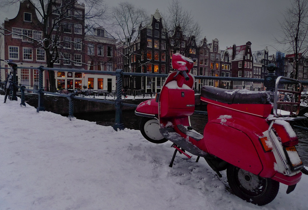 My Red Vespa Parked In The Jordaan All Rights Reserved P