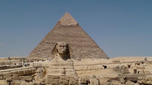 Sphinx with Khafre Pyramid in back   by bandarji