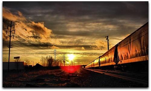 sunset sky sun sunshine minnesota clouds train tracks rochester explore railroadtracks rochestermn