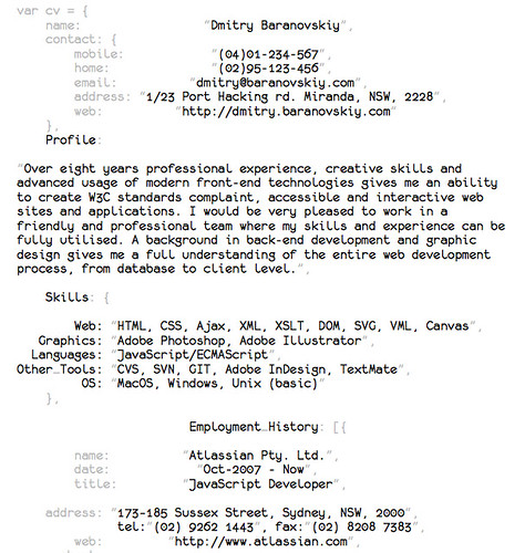 Resumé | This is how resumé of JavaScript Deveoper should lo… | Flickr