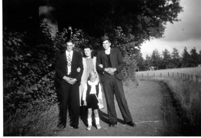 my uncle Arend van der Groef (right , man with hat) and his former wife Jannie Tiggelman (both deceased now) , somewhere near Zutphen , probably in the small village of Eefde (province of Gelderland , the Netherlands , early 1960's , I presume)