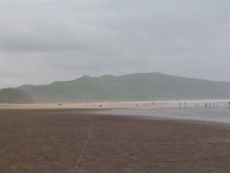 Black and white beach at Diveagar