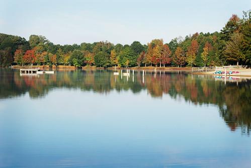 autumn reflection fall nc mr northcarolina waxhaw canecreek closedfortheseason canecreekpark ghholt 10222009