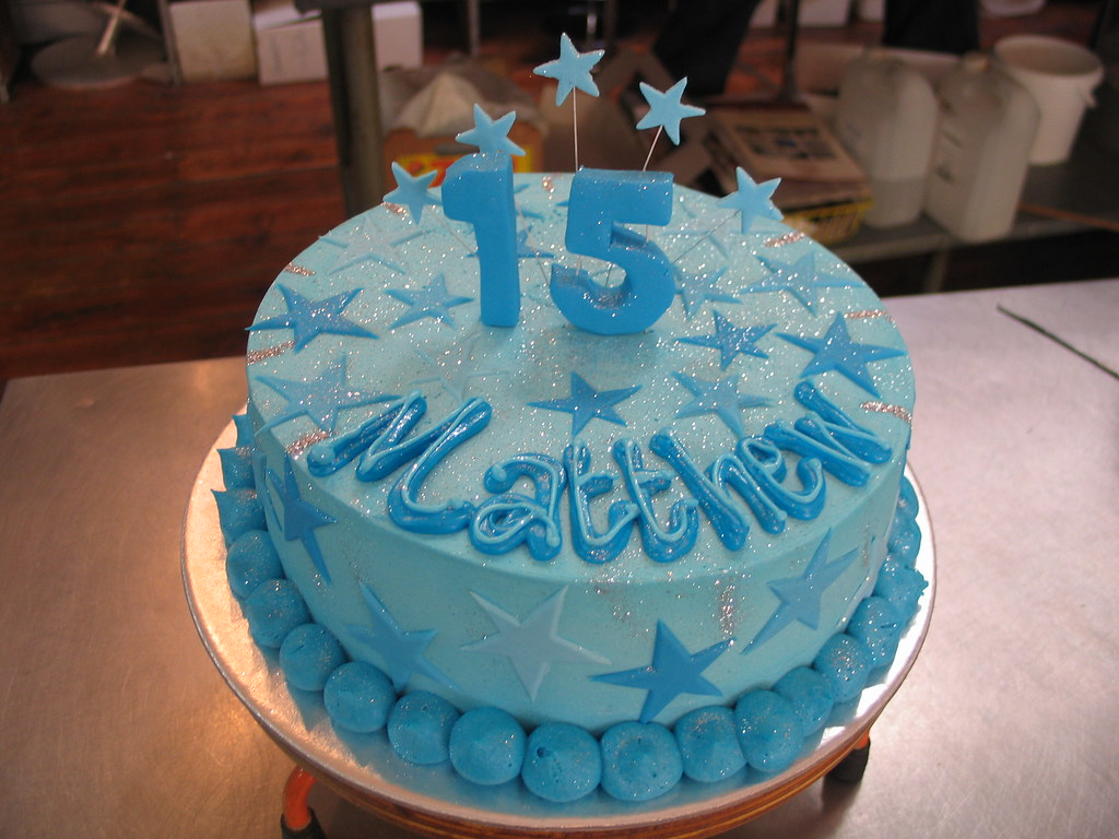 Prime Blue Birthday Cake With Fondant Stars Charlys Bakery Flickr Personalised Birthday Cards Paralily Jamesorg