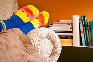 Reading in duck socks   by nicholasjon
